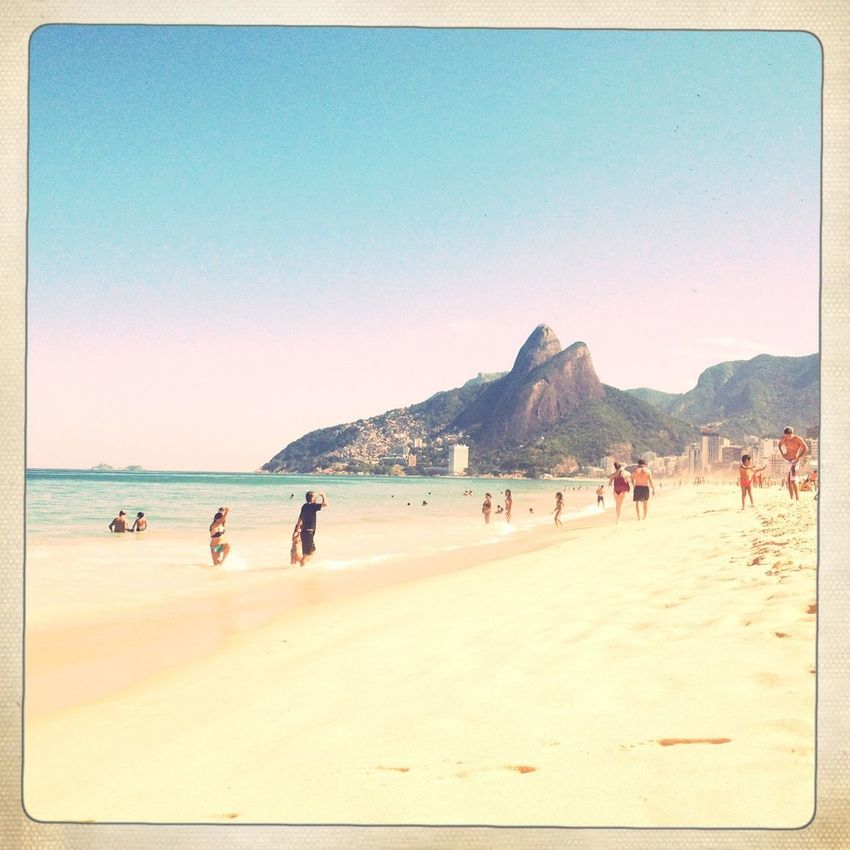 Winter in Rio: The sea is calm, the sun is sweet, the water is refreshing (not cold), the sand is comfort, Rio is wonderfull, and there is a moon in the sky at noon. WWinter In Rio Winter I❤Rio Enjoying The Sun