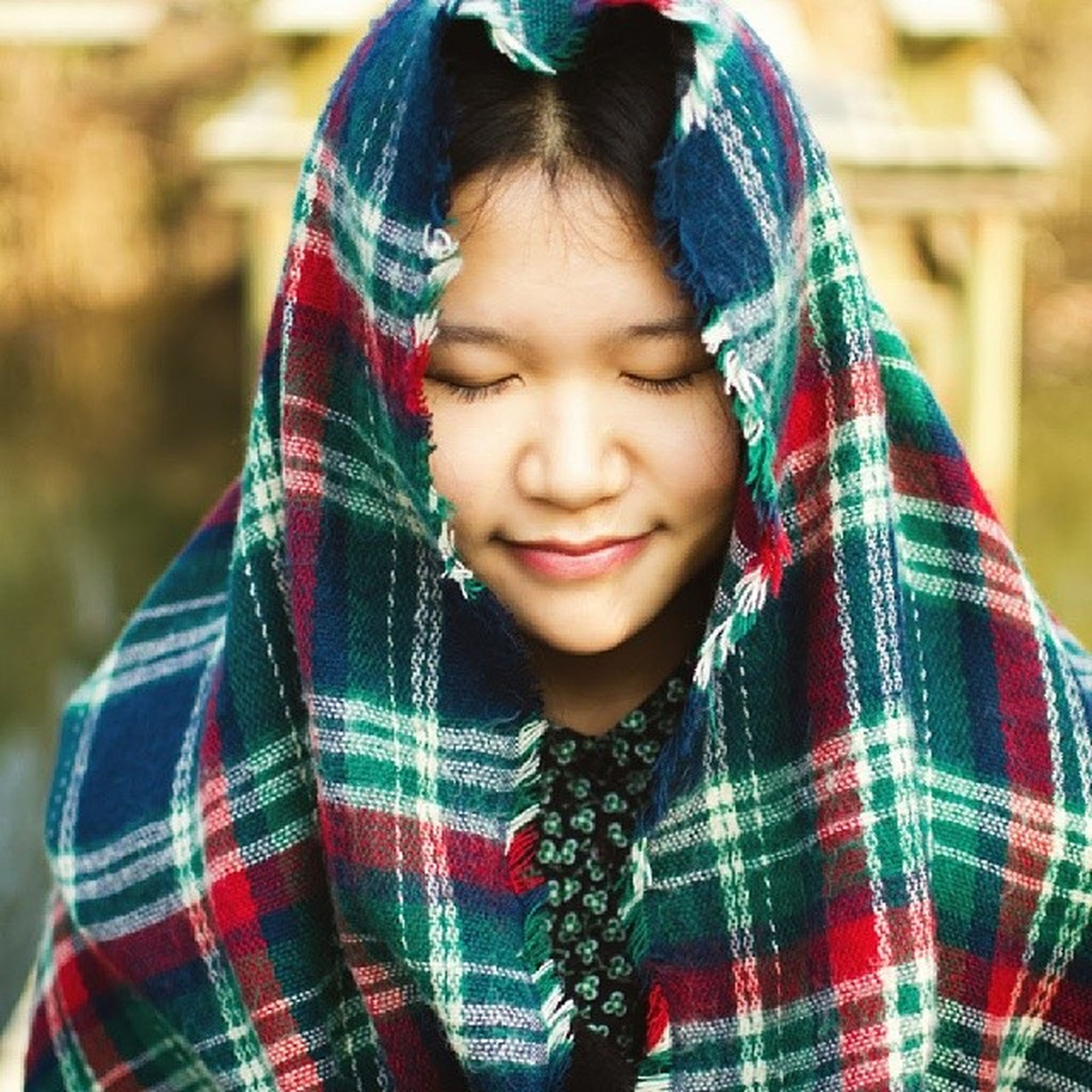 person, lifestyles, casual clothing, focus on foreground, front view, portrait, looking at camera, leisure activity, childhood, elementary age, headshot, smiling, girls, warm clothing, waist up, standing, happiness, innocence