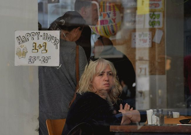 Unhappiness Happy Lady Woman Coffeshop Eyes Glance Glass Unhappiness
