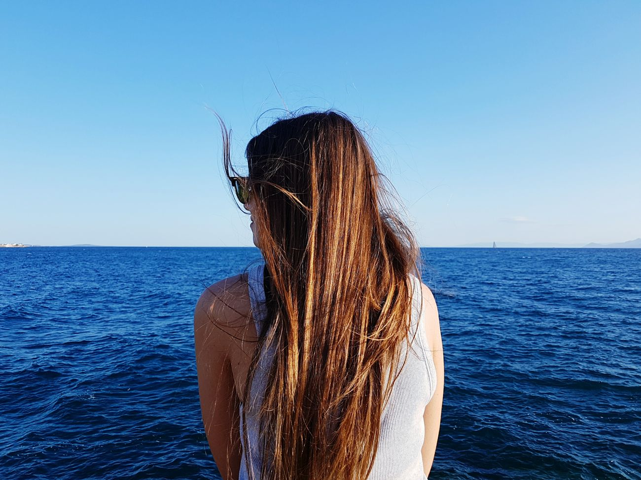Enjoying The Sun Fresh Air Relaxing Summer Vibes Clear Sky Greece Skylover Athens Gazing Chillin' Sea Seaside Girl Lonely First Eyeem Photo