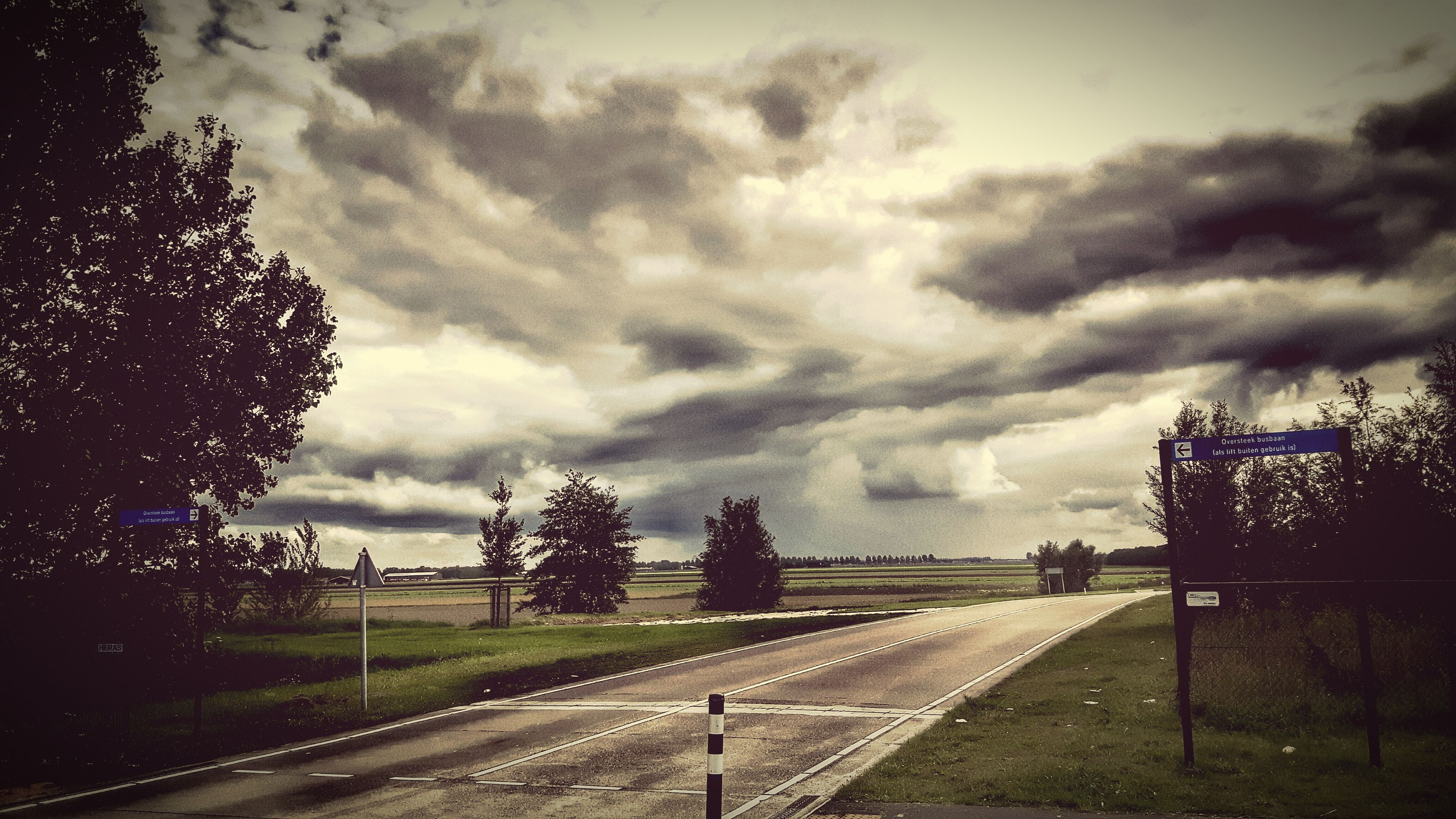 sky, cloud - sky, cloudy, tree, road, the way forward, transportation, cloud, field, weather, landscape, overcast, tranquility, nature, street, tranquil scene, diminishing perspective, dusk, storm cloud, outdoors