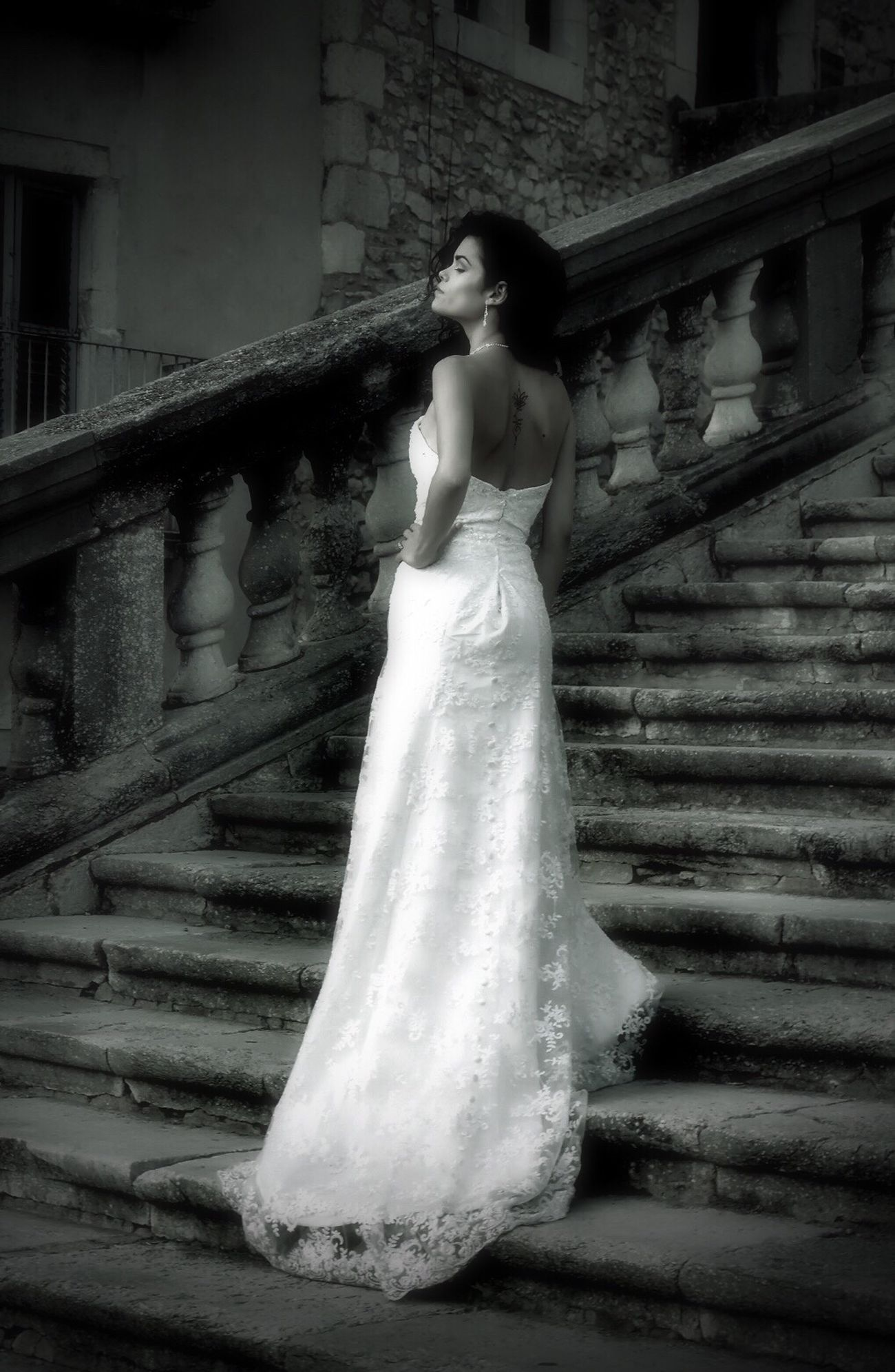 Steps Staircase Full Length Steps And Staircases Architecture Railing Young Adult Built Structure Real People One Person Beautiful Woman Young Women Wedding Dress Lifestyles Bride Low Angle View Women Wedding Building Exterior Happiness ByChanceClick Model Fujifilm Blackandwhite