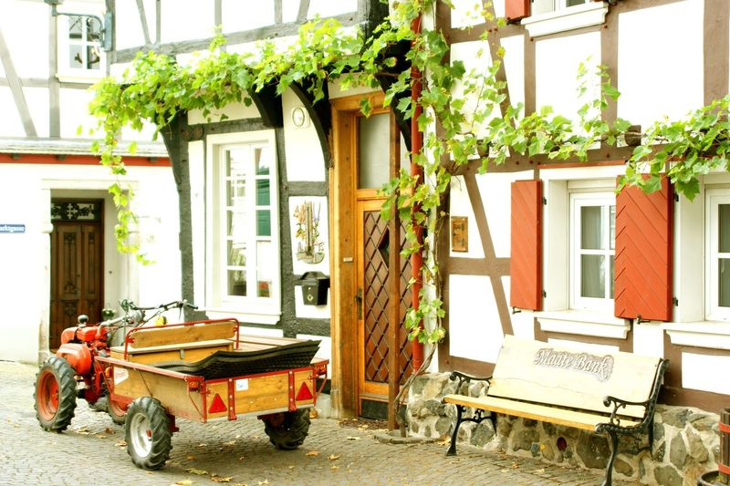 Ready for a trip Architecture Building Exterior Built Structure Day Enjoying Life Getting Inspired Green Color Hello World No People Old Old House Oldtimer Outdoors Photography Red Color Seat Bench Taking Photos Transportation Vehicle