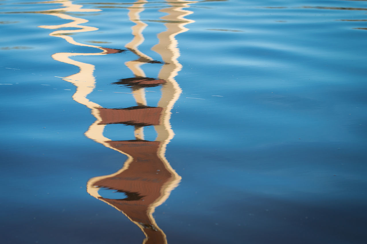 Abstract Backgrounds Beauty In Nature Blue Close-up Day Distorted Nature No People Outdoors Reflection Surface Tower TV Tower Water