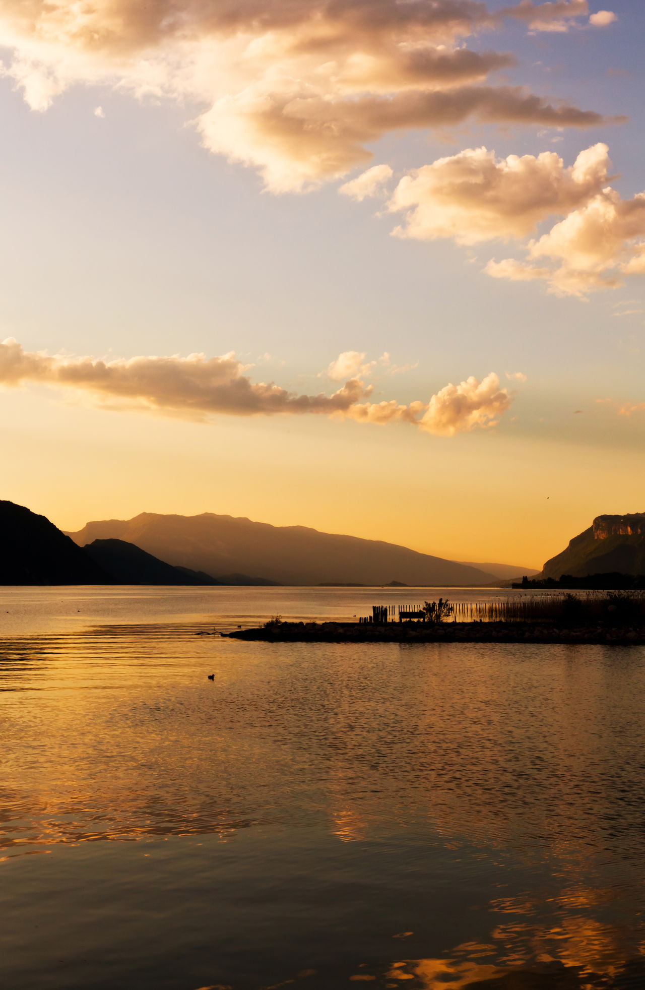 Sunset Reflection Scenics Dramatic Sky Landscape Water Nature Mountain Beauty In Nature Tranquility Outdoors Tranquil Scene No People Silhouette Sea Cloud - Sky Vacations Travel Destinations Sky Day France Savoie Lake Rhonealpes EyeEm Nature Lover