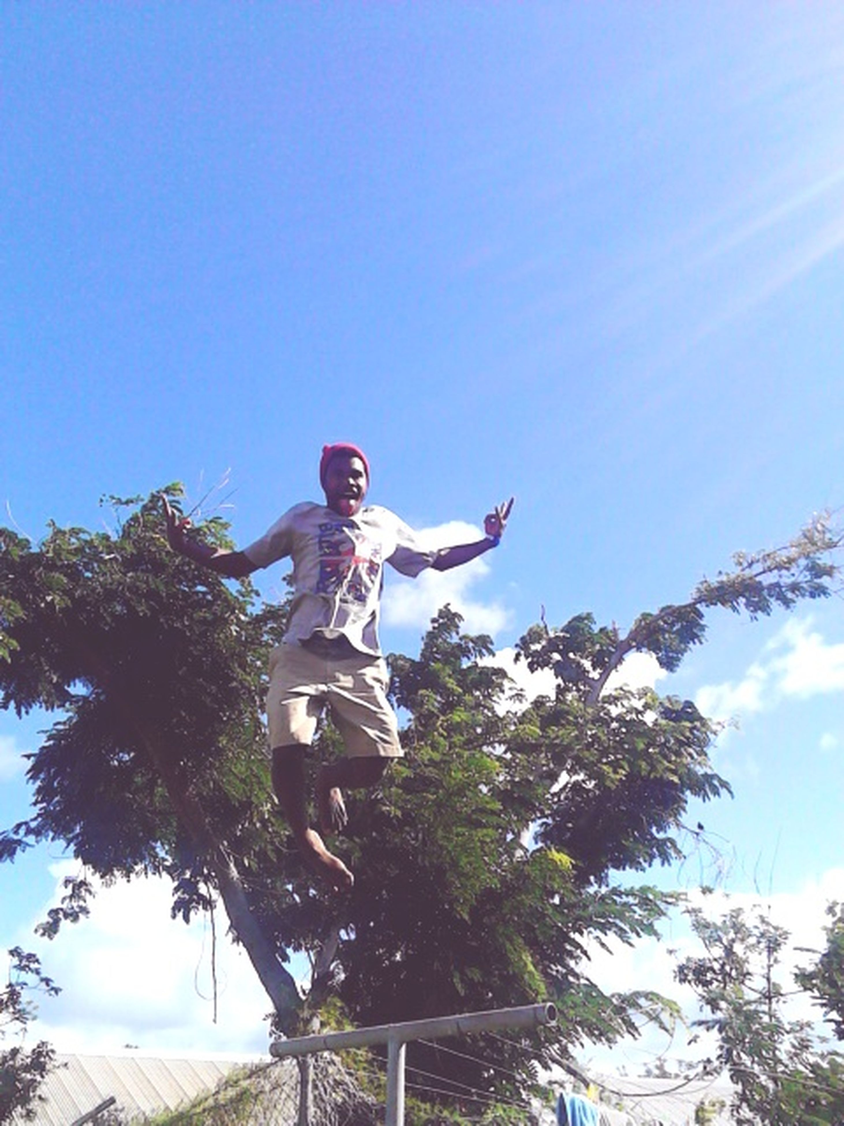 low angle view, lifestyles, leisure activity, tree, clear sky, blue, fun, sky, enjoyment, full length, young adult, person, mid-air, casual clothing, sunlight, day, outdoors, nature
