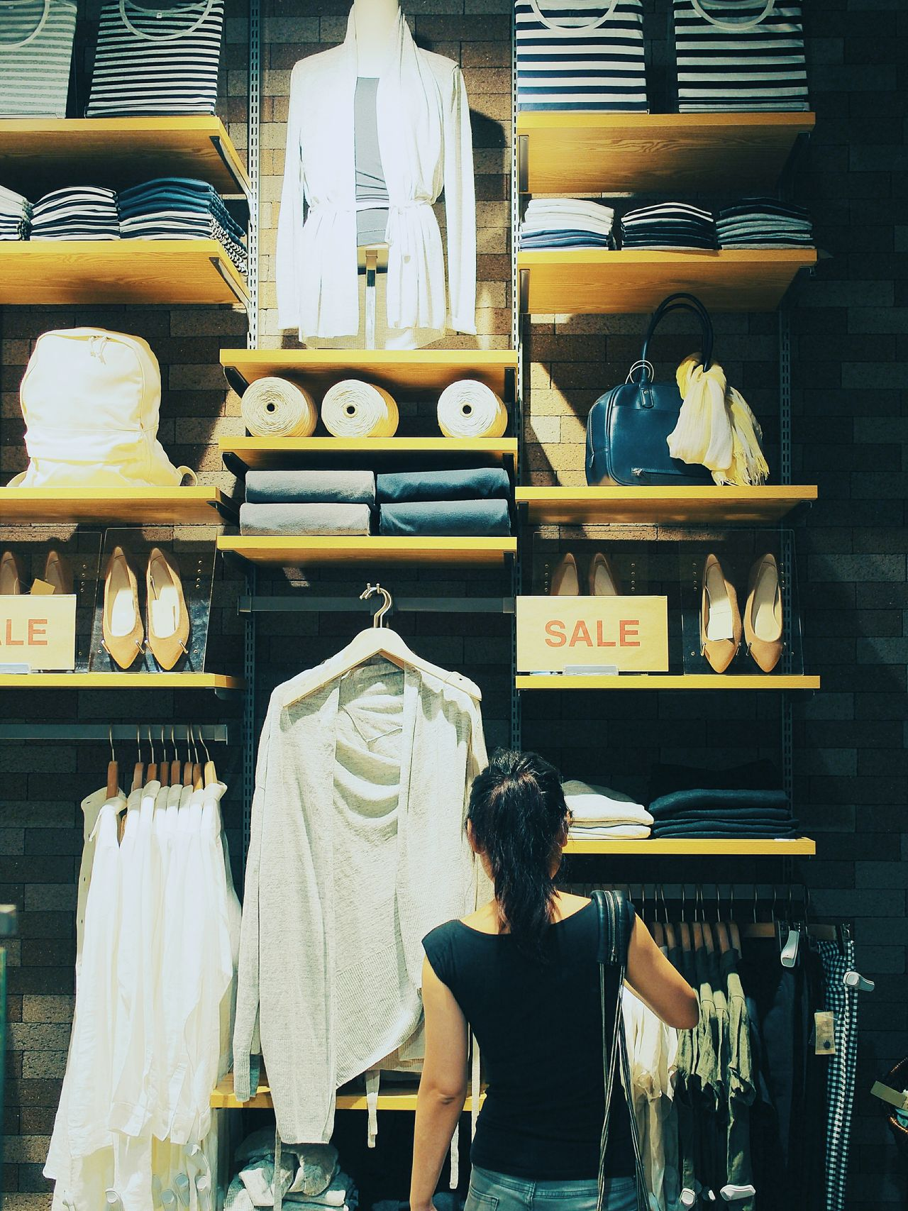 Shopping ♡ Sale Rear View Store Retail  Shopping In Front Of Retail Display Variation Consumed By Consumption Sell Cloth Shopping Time Girl