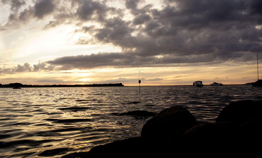 Beauty In Nature Cloud - Sky Day Dramatic Sky Horizon Over Water Nature No People Outdoors Scenics Sea Silhouette Sky Storm Cloud Sunset Tranquil Scene Tranquility Water Wave