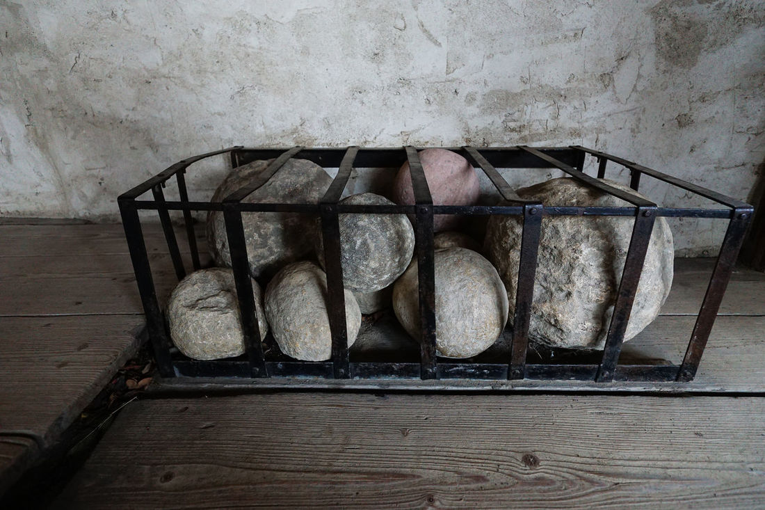canon balls of stone at Marksburg castle Abandoned Built Structure Canon Castle Day Deterioration High Angle View Indoors  Man Made Object Marksburg Castle Metal No People Obsolete Old Rusty Still Life Stone Balls Stone Canon Balls Wall - Building Feature Weathered