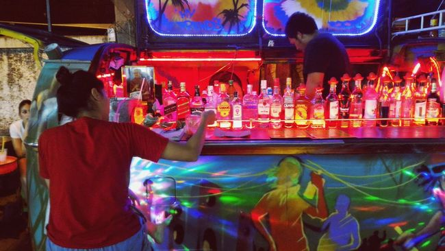 Night Bar Barmen Lonely Girl Hanging Out Alchohol Khaosanroad Night Photography Neon Lights Neon Color Fun Party Street Wolkswagen Van
