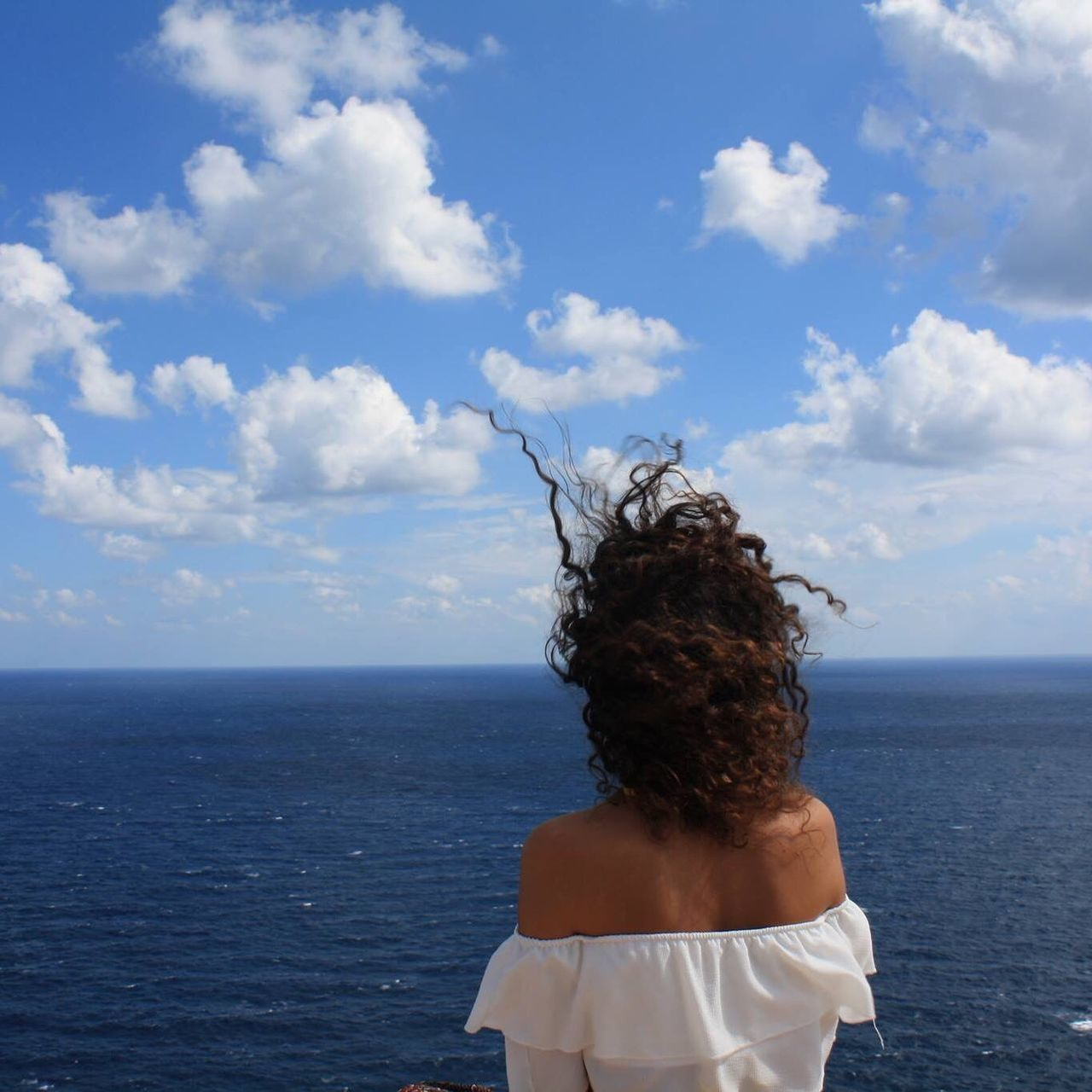 Sea Rear View Horizon Over Water One Person Sky Real People Leisure Activity Water Cloud - Sky Lifestyles Day Standing Outdoors Nature Scenics Tranquility Beauty In Nature Women Young Adult People Formentera Formentera Island Baleares Balearic Islands