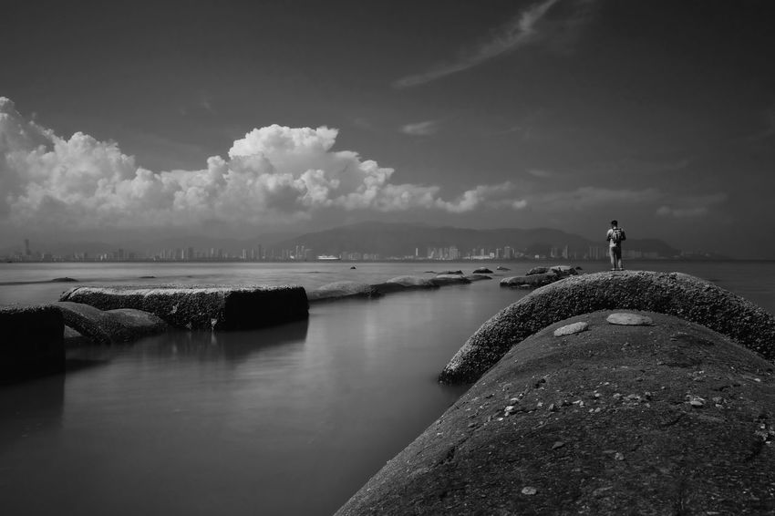 Black & White Beauty In Nature Black And White Photography Cloud - Sky Day Fishing Fuji Xt20 Fujifilm Horizon Over Water Long Exposure Nature One Person Outdoors People Real People Rock - Object Scenics Sea Sky Standing Tranquil Scene Tranquility Water