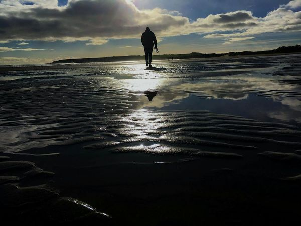 Be. Ready. Scotland One Person People Water Cloud - Sky Outdoors Sea Day Adult Walking Adventure One Man Only Beach Beauty In Nature Scotland Travel Travelling Travel Photography Roadtrip November Silhouette Reflection Sunset Full Length Wet