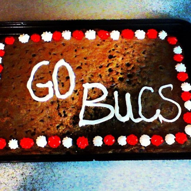 My cookie cake with @knorton8799 for Kick-off Sunday! :) Cookie Cake Go Bucs football sunday