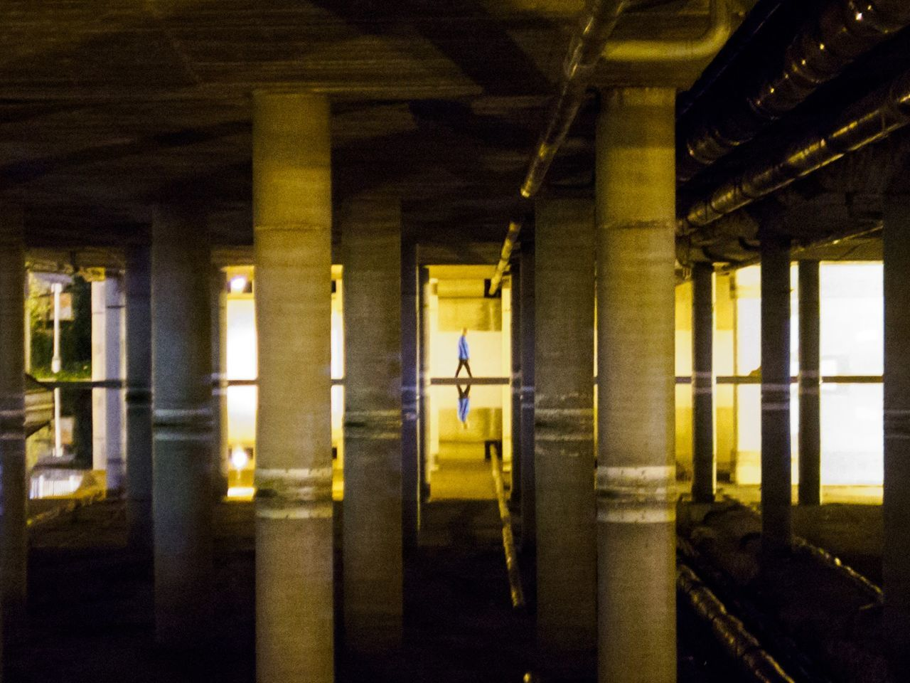 architectural column, architecture, indoors, built structure, in a row, pillar, illuminated, underneath, no people, day, under