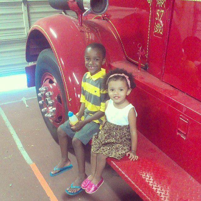 Fun and #firetrucks at my husband's work. I love my #munchkins. EMS Firetrucks Munchkins Emswife