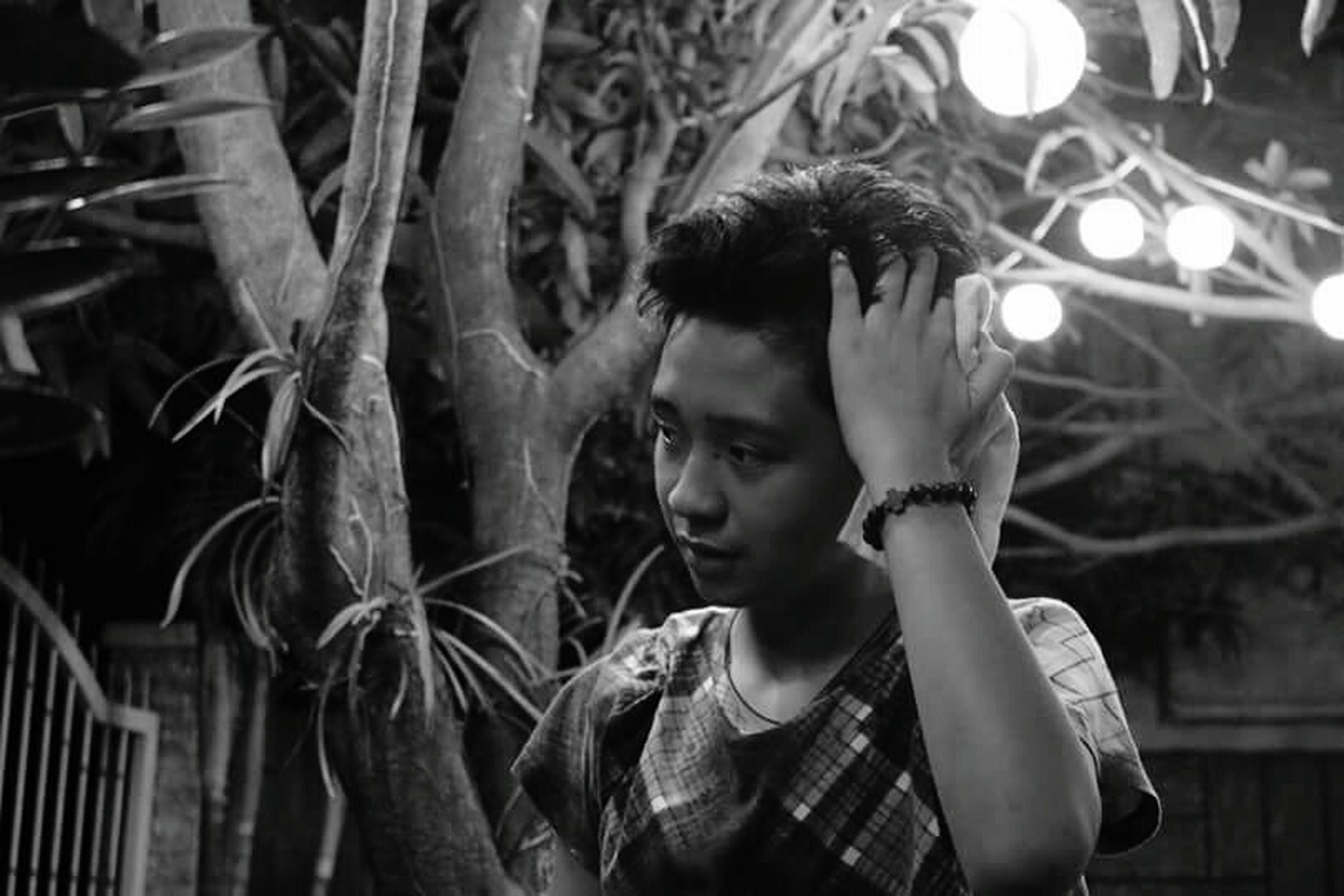 one person, child, contemplation, males, headshot, tree, people, childhood, outdoors, day, young adult, adult