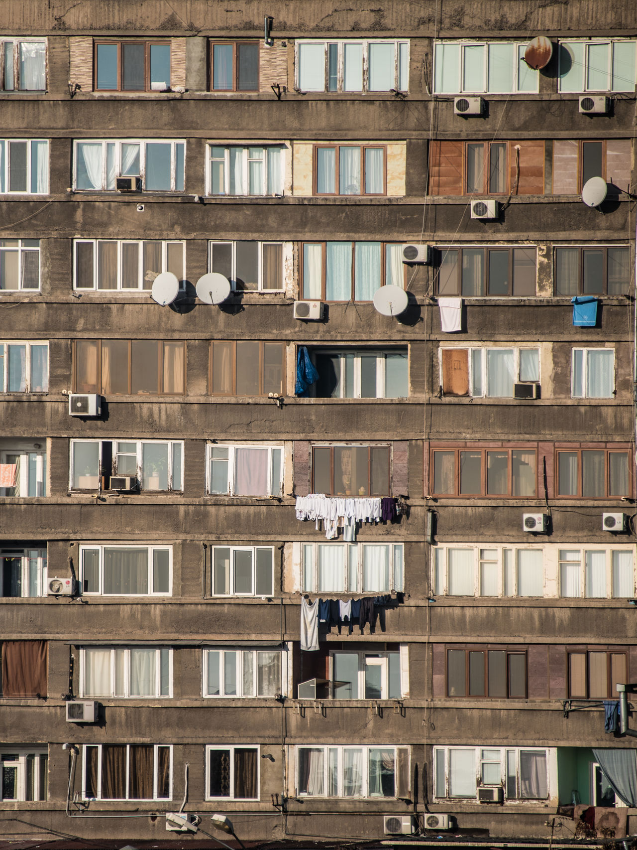 Airconditioning Apartment Buildings Architecture Building Exterior City Communist Architecture Day Façade Laundry Living Old Outdoors Plattenbau Satallite Dish Urban Windows