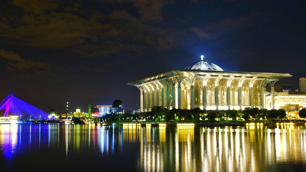 illuminated, night, architecture, built structure, water, building exterior, sky, reflection, waterfront, outdoors, no people, dome, city