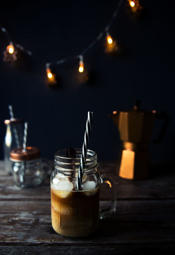 Iced Coffee Coffee Cozy Dark Background Drink Drinking Glass Freshness Home Iced Coffee Illuminated Indoors  Lights Moka Mokapot No People On The Table Refreshment Table Wood Wood - Material