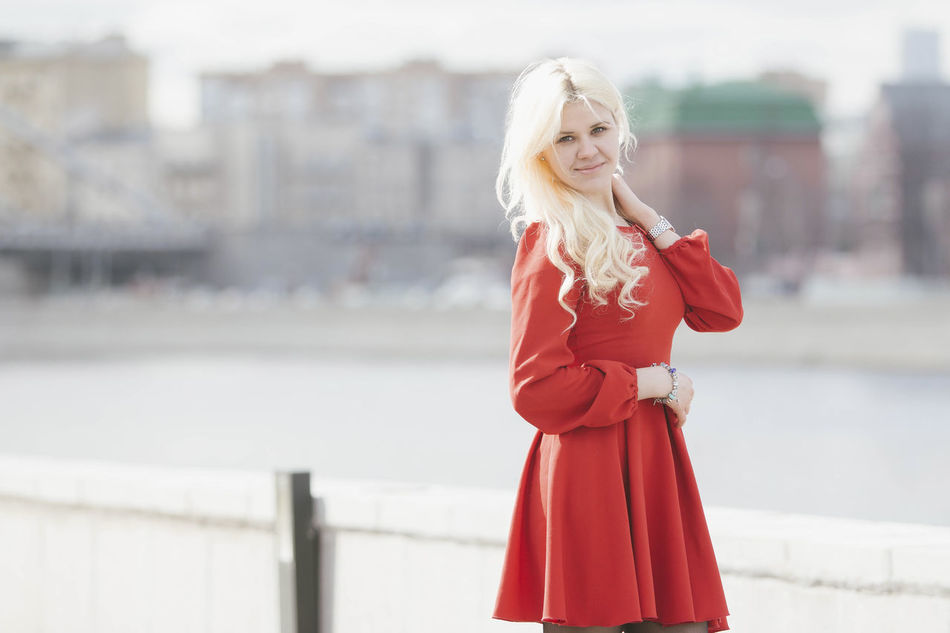 Beauty Blond Hair Day Dress Nature One Person One Woman Only One Young Woman Only Only Women People Red Dress Streetphotography