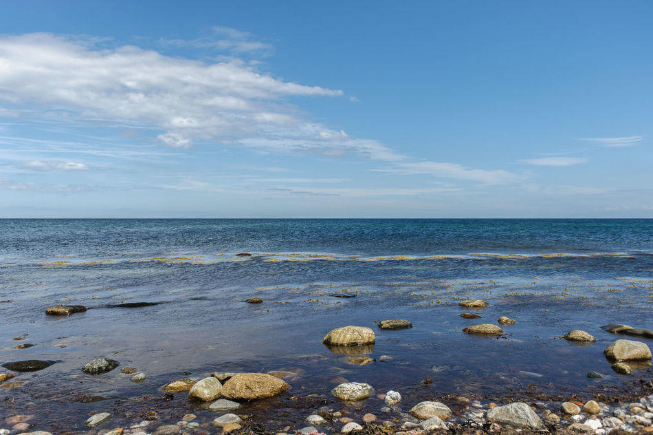 Coastline of Sjaelland, Denmark Beach Beauty In Nature Blue Blue Sky And Clouds Clear Sky Cloud - Sky Day Denmark Horizon Over Water Nature No People Outdoors Pebble Pebble Beach Pebble Beach Pebbles Rock - Object Scenics Sea Shades Of Grey Sky Summer Days Tranquil Scene Tranquility Water