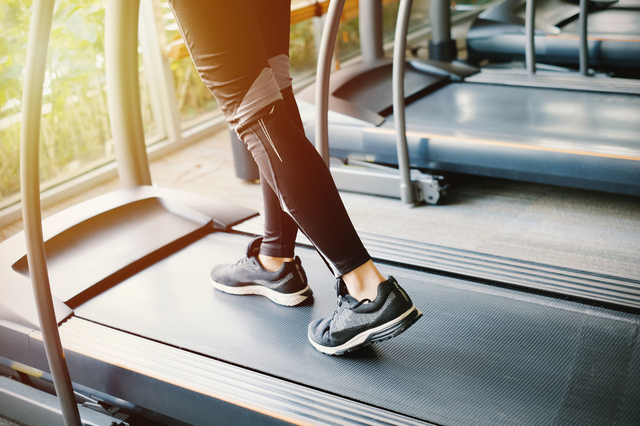 Close-up Day Fitness Gym Healthy Lifestyle Human Body Part Human Leg Indoors  Indoors  Jogging Lifestyles Low Section One Person People Real People Running Running Track Shoe Sport Sportwear Strength Training Treadmill Woman Workout