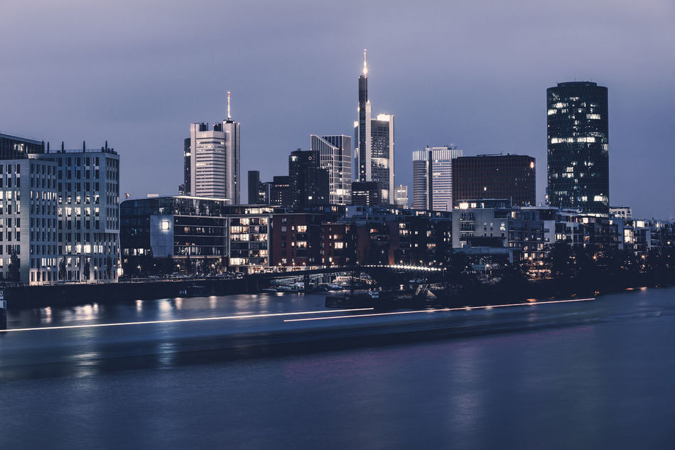 City of Frankfurt / Main at sunset hour Architecture Building Exterior Built Structure City Cityscape Downtown District Evening Financial District  Frankfurt Am Main Illuminated Modern Night No People Outdoors Sky Skyscraper Sunset Urban Skyline Welcome To Black