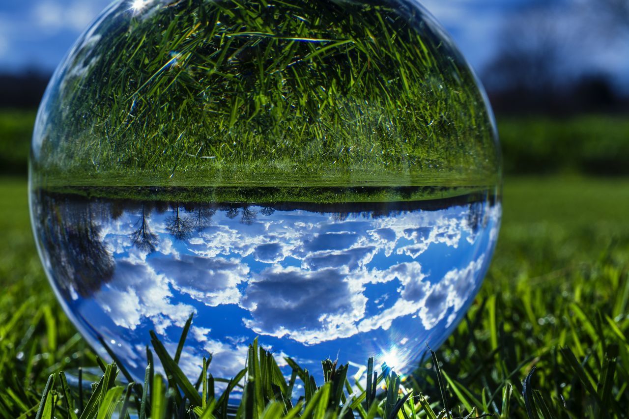 crystal ball Beauty In Nature Close-up Cloud - Sky Crystal Ball Crystal Ball Photography Farmland Field Glass Ball Glass Sphere Grass Landscape Nature Night No People Outdoors Reflection Sky Sphere Tree