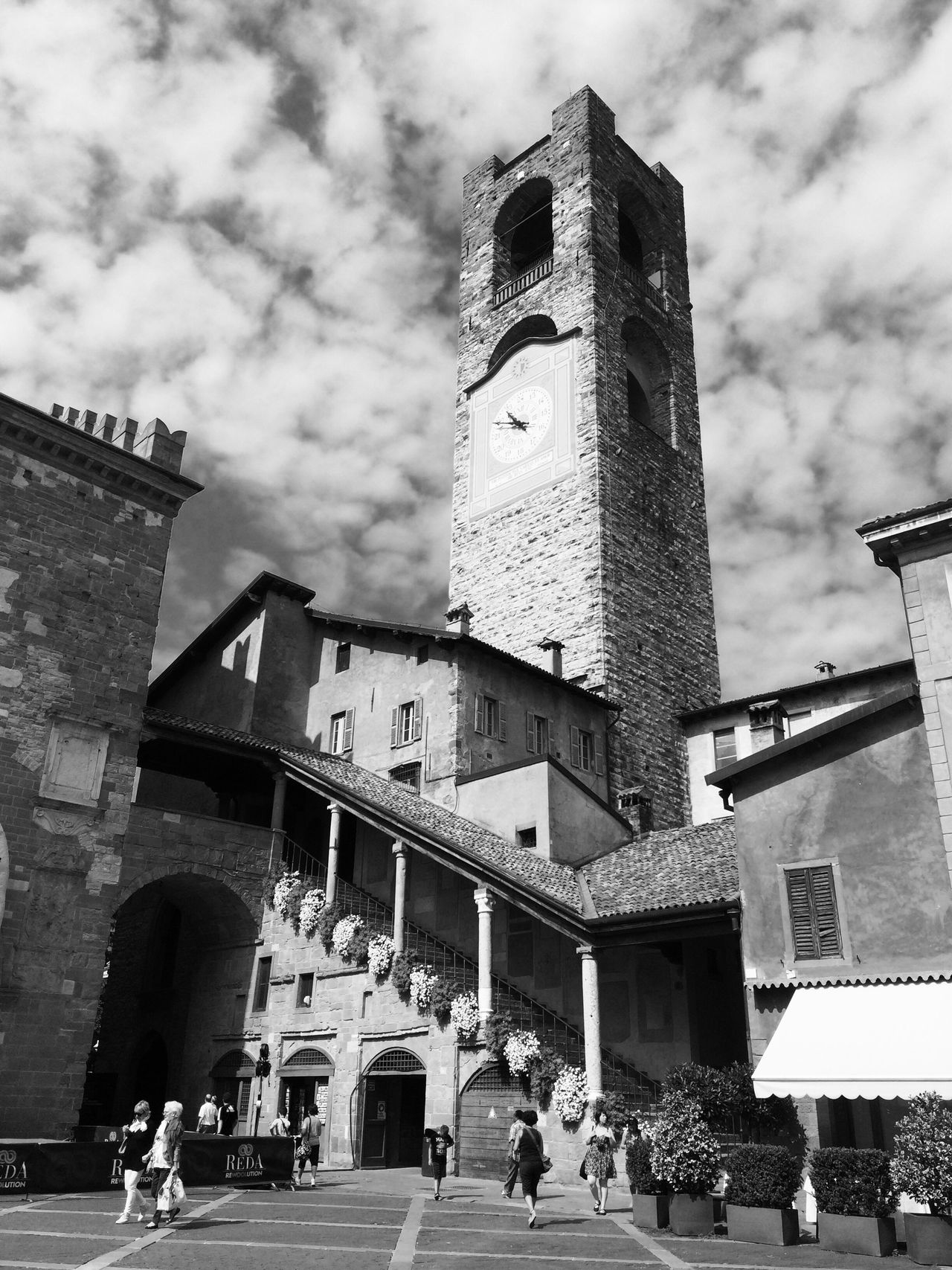 Bergamo Italy Market Holidays July Relax Urban Lifestyle Architecture Church Square Main Square Monochrome Photography