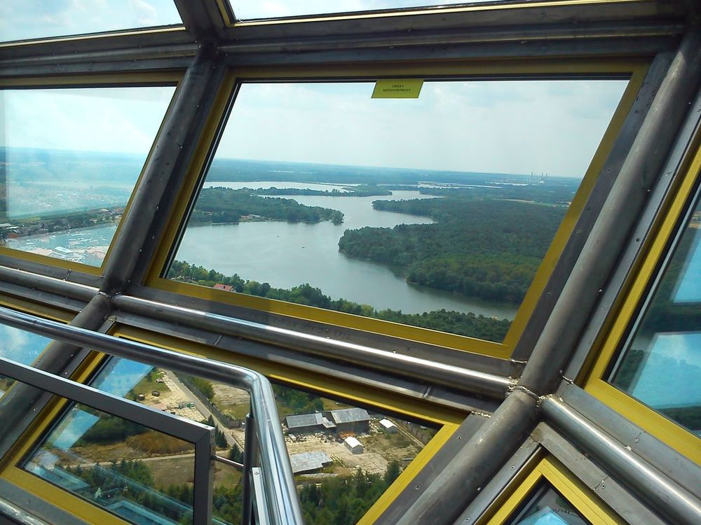 Tower View Structures Of Steel PhonePhotography Lake View Forest View View From Above Metal Pipe Viewpoint Popular Photos No People Taking Photos Shades Of Nature Lake And Forest Low Angle View View Nature Day