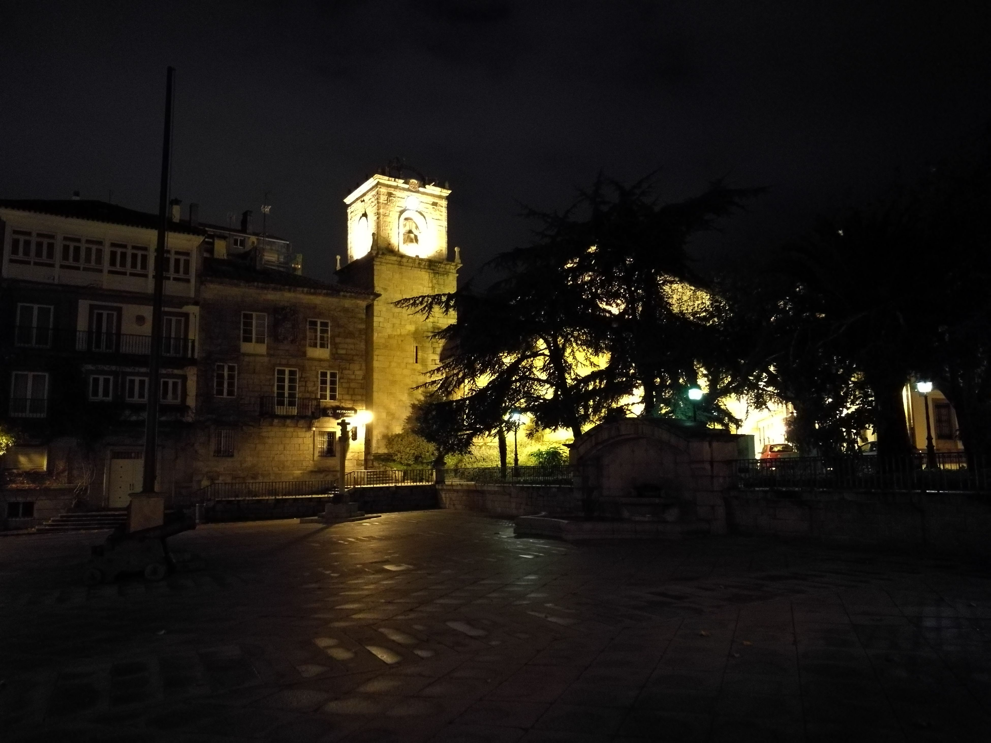 night, illuminated, building exterior, architecture, city, built structure, outdoors, tree, sky, no people, clock tower, clock
