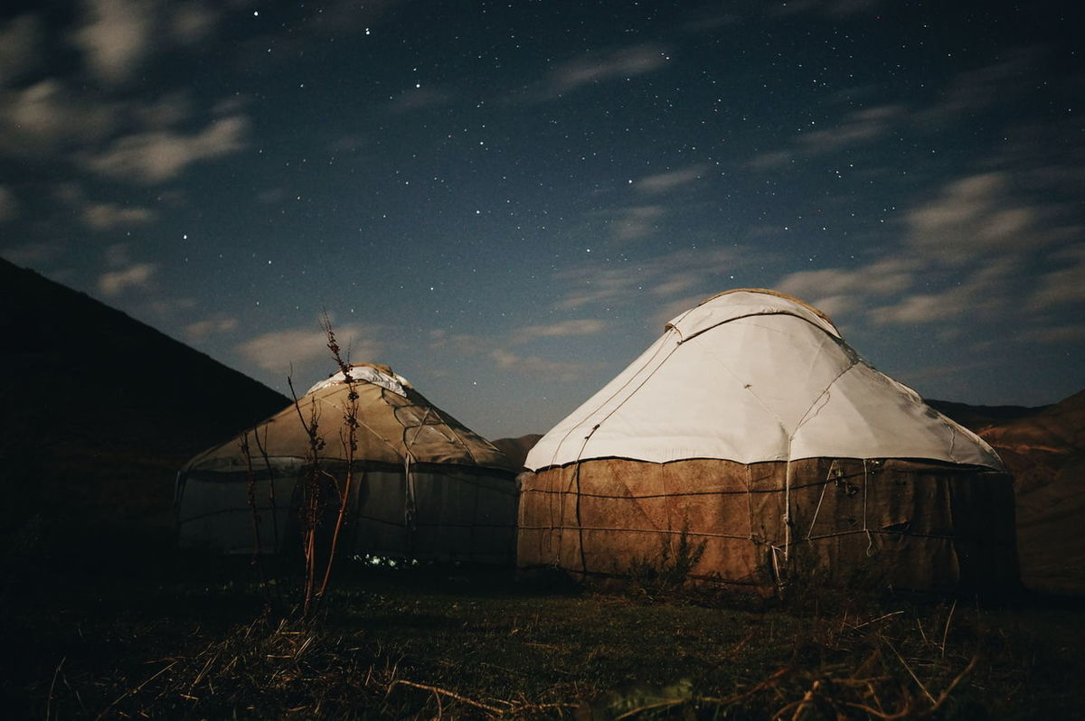 Home for the night Mountain Astronomy Outdoors Star Field Cloud - Sky Remote Countryside No People Space Sky Cloud Kyrgyzstan NOMAD Son-kol Son Kol Lake Son Kol Camping Yurt Overnight Success