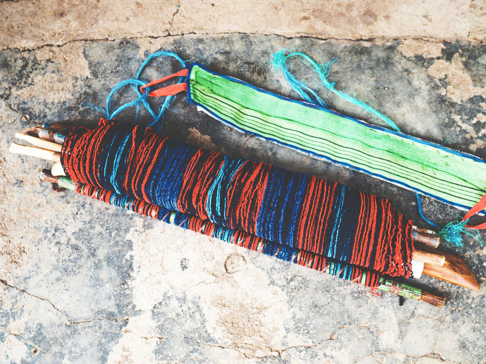 Ready for weaving Ancient Techniques Apparatus Atitlan Close-up Clothes Clothing Cotton Day Equipment Fabric Ground Guatemala Handycraft Loom Manufacture Multi Colored No People Outdoors Vintage Weaver Weaving Wool