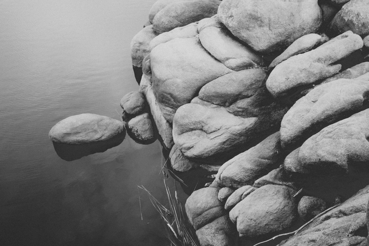 Beauty In Nature Black And White Black And White Collection  Close-up Day Lake Moody Natural Nature Nature No People Outdoors Rock Rock Formation Rocks Sky Stone Stone Material Water Water Reflections