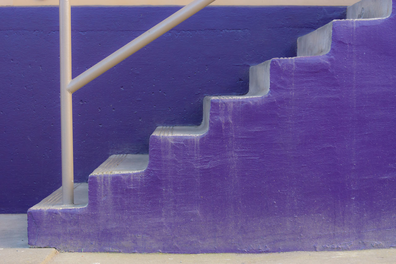 Architecture Close-up Day Indoors  No People Purple Staircase Steps Steps And Staircases