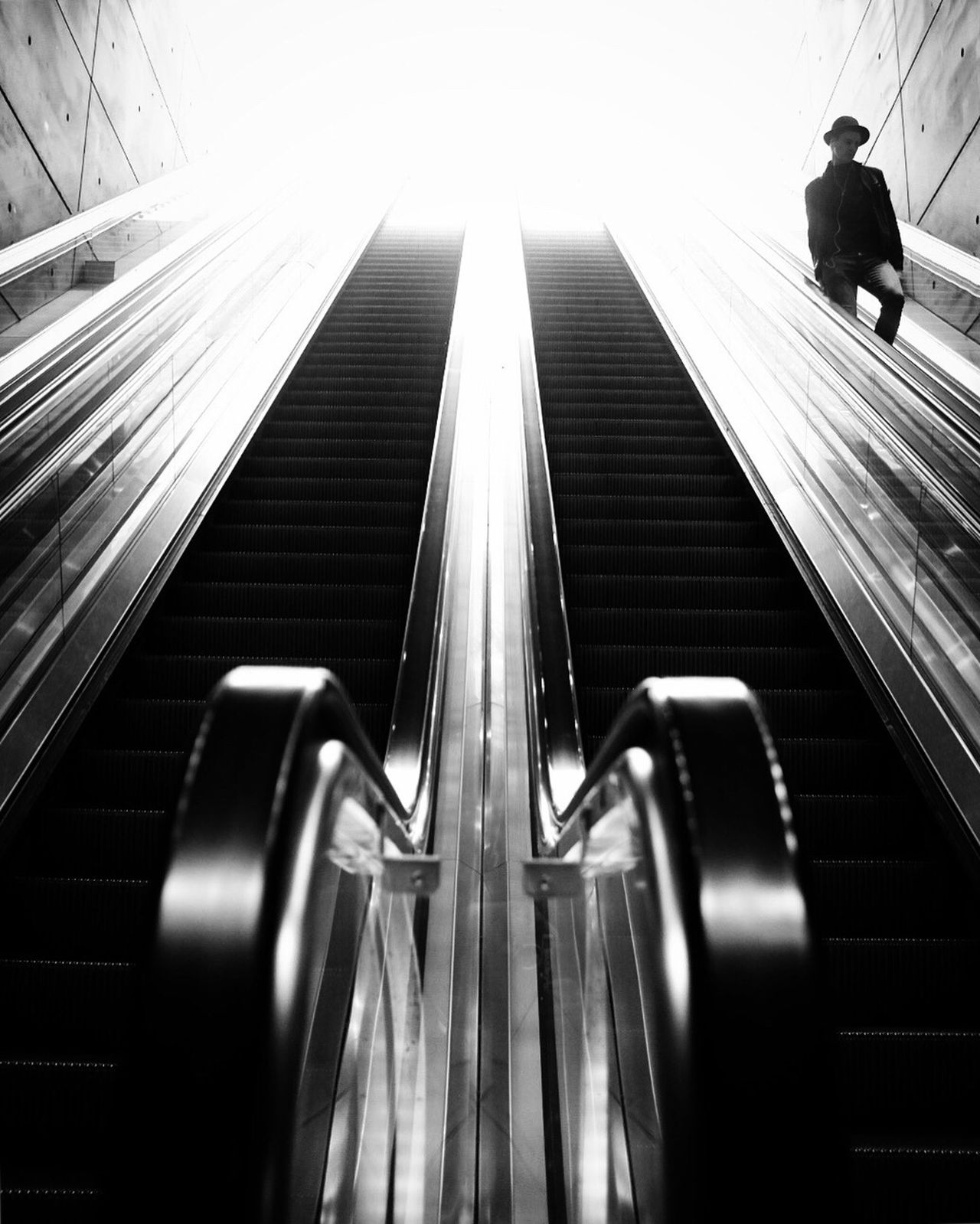 Escalator Indoors  Modern Steps And Staircases Futuristic Street Photography Monochrome Black And White One Person