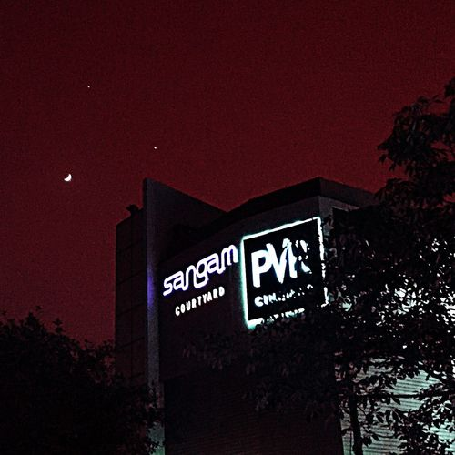 Moon stars and the cinema. Movies Sangam Cinema PVR Sangam Night Sky Iphonography Tadaa Community Eyeforphotography