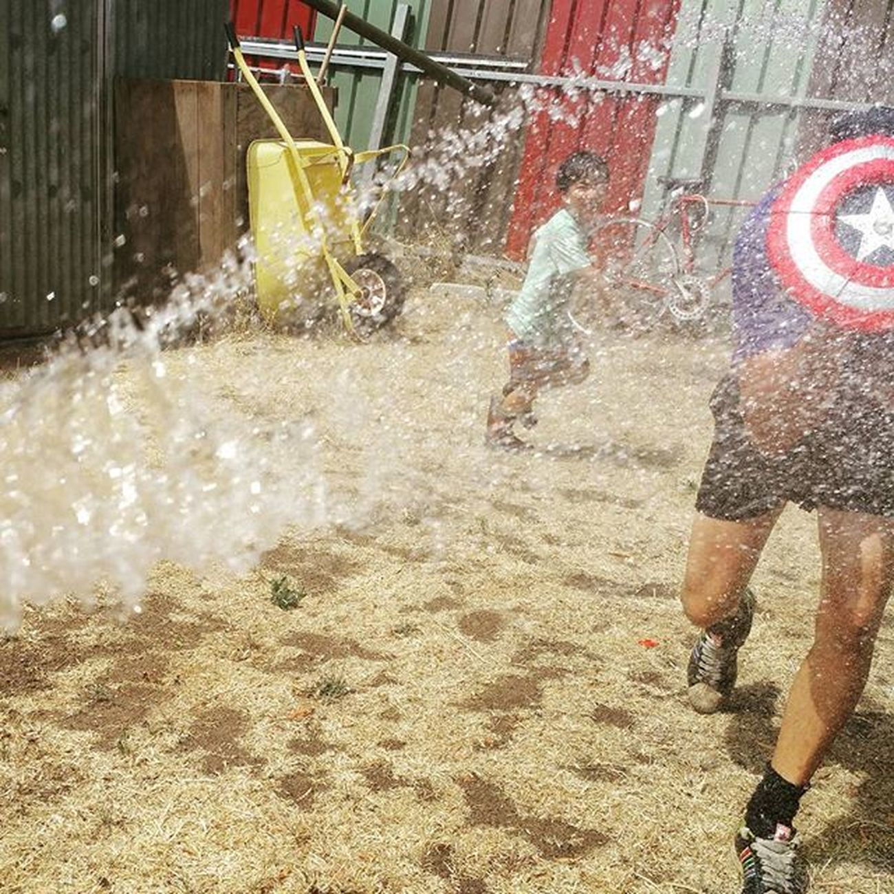 Captain America about to attack me on Australia Day hahaha Backyardigans Aussiesummer Australiaday2016 Waterfight Goodfun Straya Bigkidswithkids Boysvsgirl Keepingupwithmem