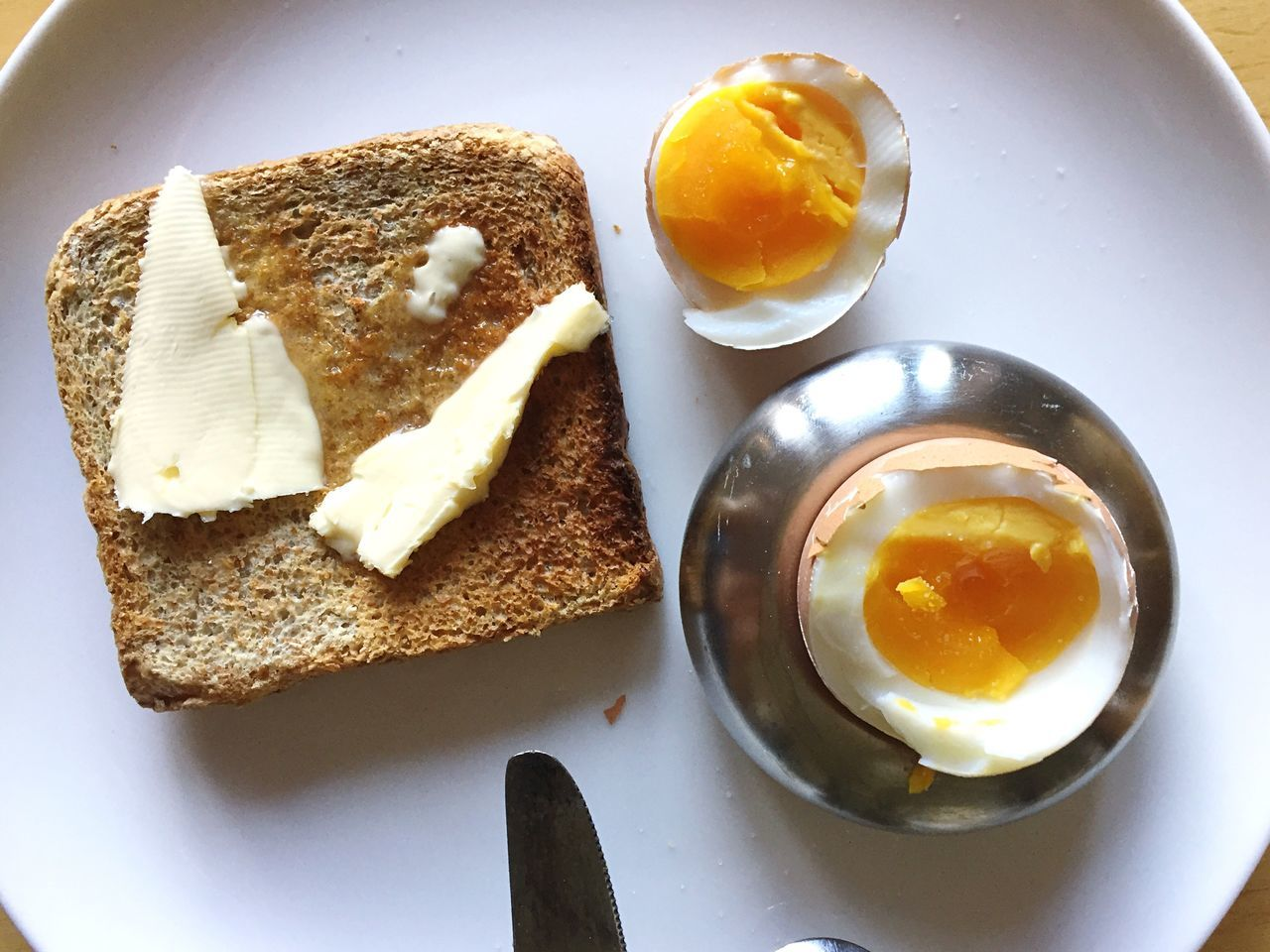 Breakfast for one Egg Breakfast Egg Yolk Fried Egg Bread Food And Drink Food Plate Healthy Eating Toasted Bread Freshness Ready-to-eat Egg White Boiled Egg Indoors  Table No People Serving Size High Angle View Omelet