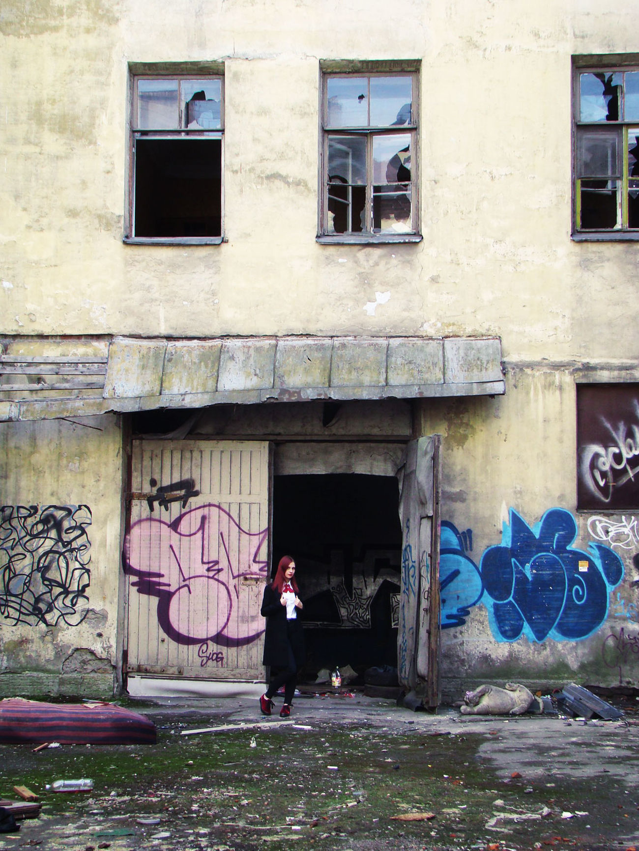 Abandoned Architecture Building Exterior Built Structure Burnt Day Entrance Full Length Graffiti Lifestyles Old Age One Person Outdoors People Real People St. Petersburg Standing Window Young Adult
