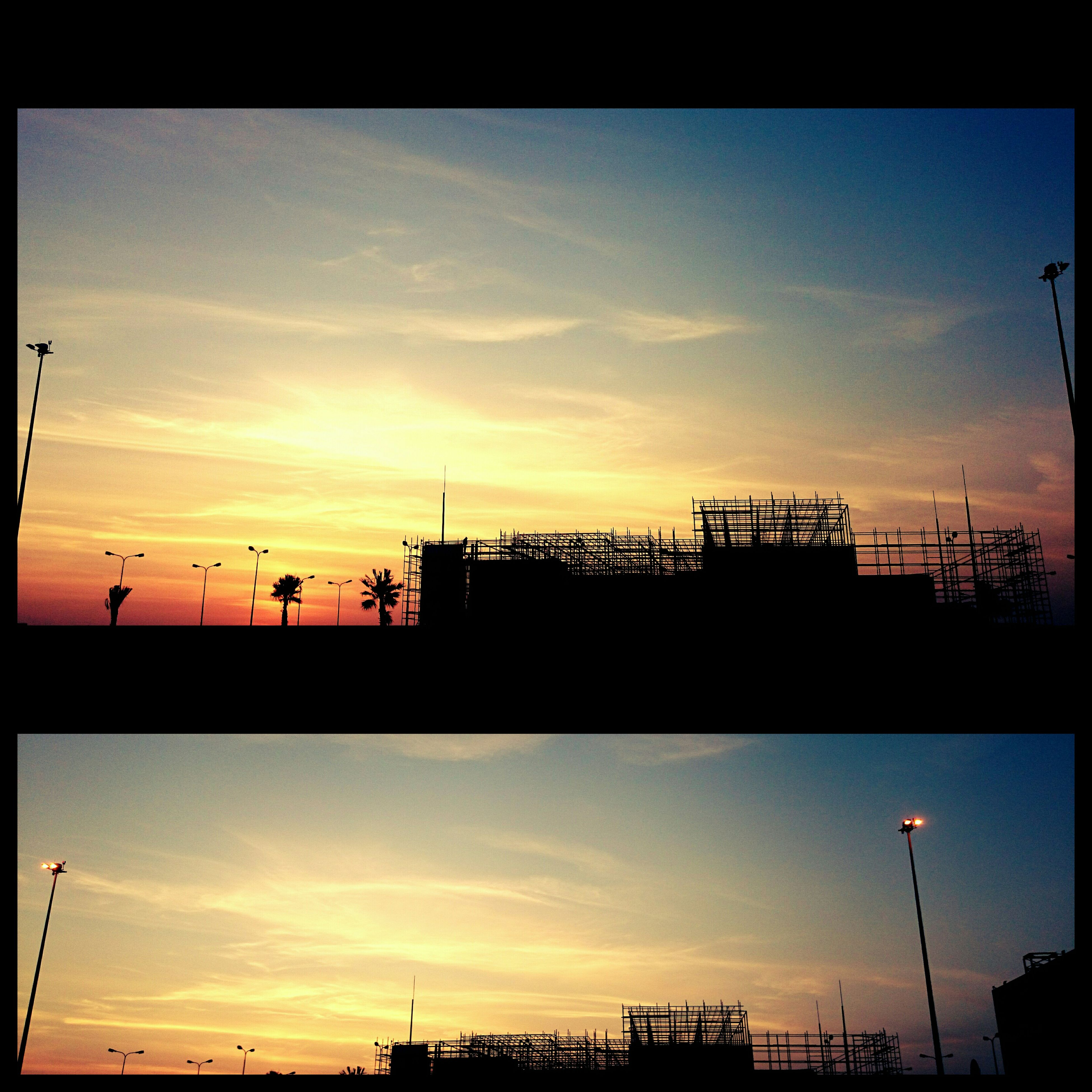 sunset, transfer print, silhouette, architecture, built structure, sky, auto post production filter, orange color, building exterior, cloud - sky, dusk, low angle view, cloud, nature, outdoors, beauty in nature, connection, blue, scenics, incidental people