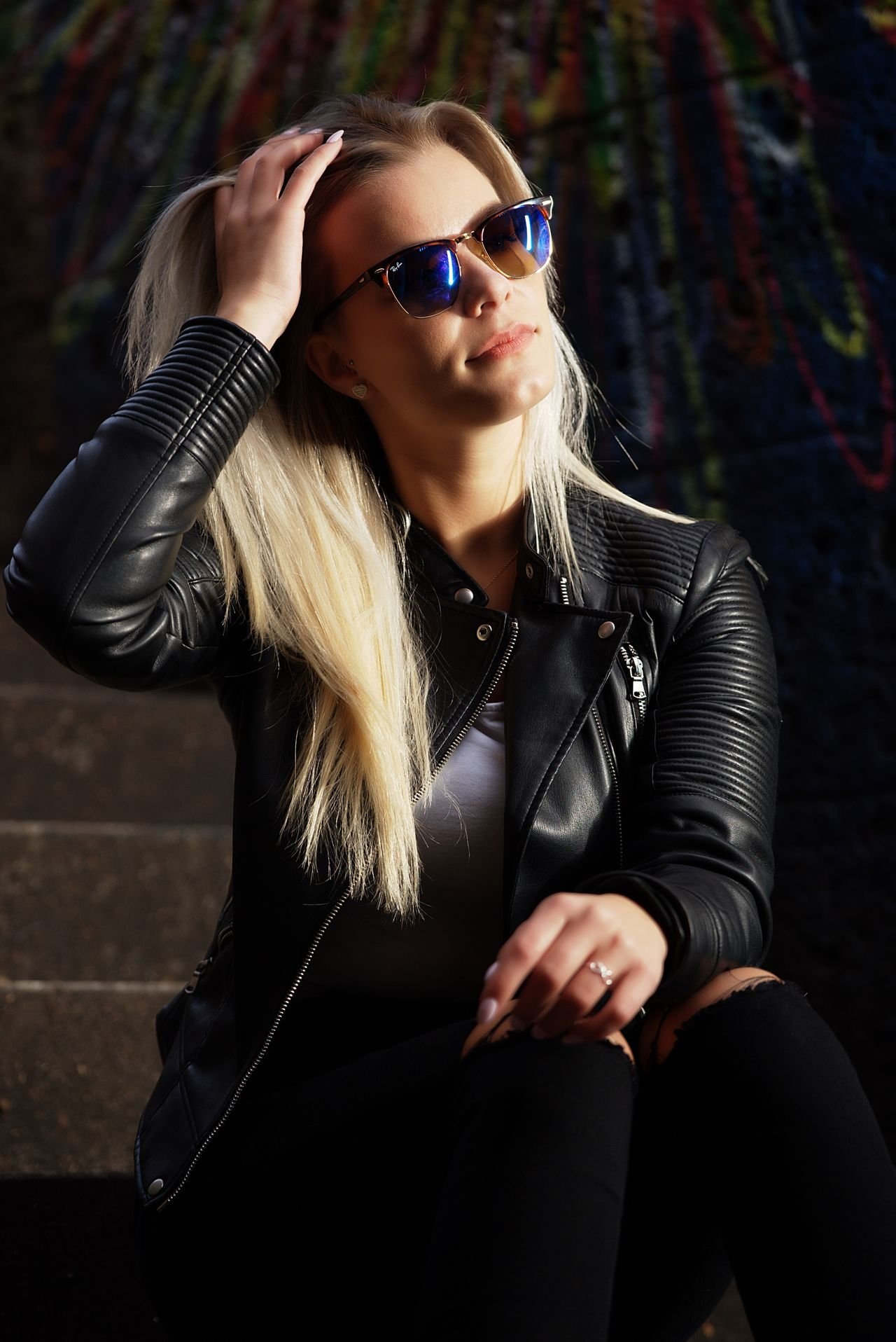 Young Adult Blond Hair Sunglasses Fashion Beauty Portrait Young Women Leather Jacket Females