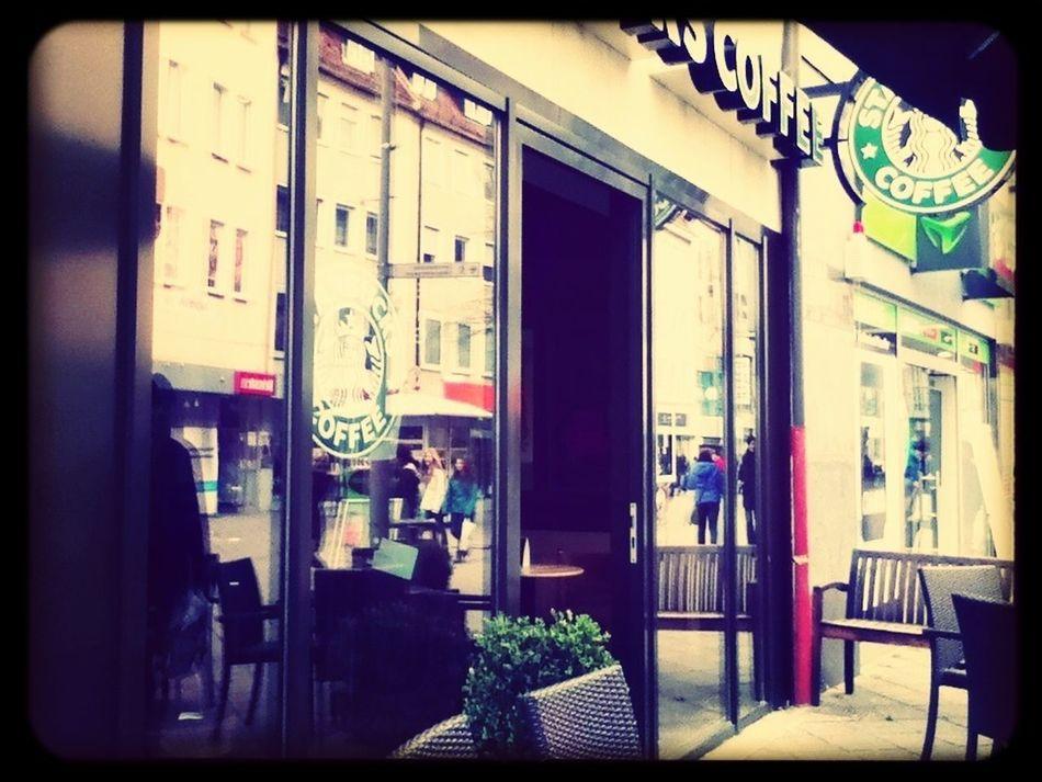 At Starbucks.