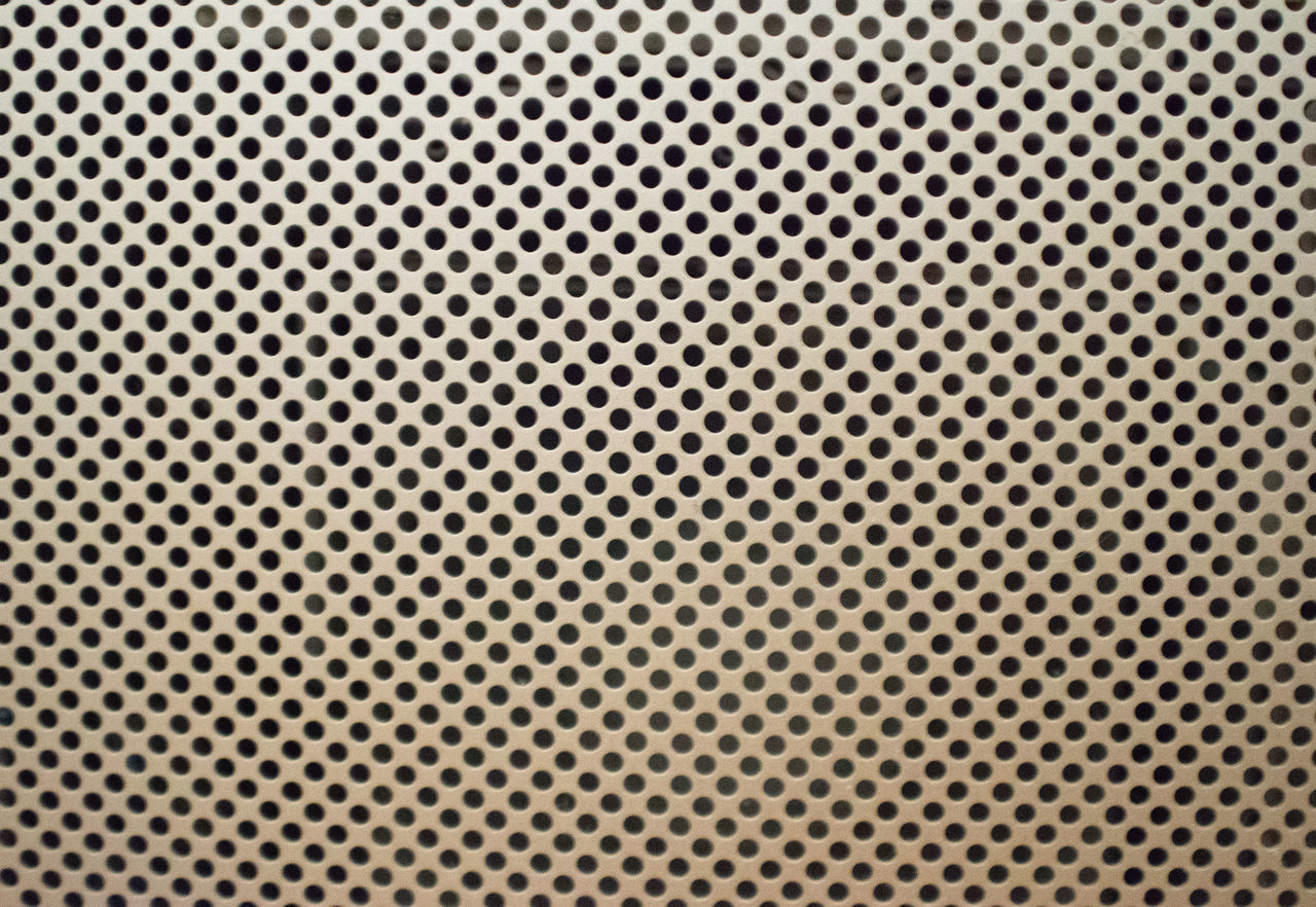 hole, silver colored, polka dot, alloy, silver - metal, spotted, metal, circle, backgrounds, connect the dots, steel, gray, brushed metal, architectural feature, air duct, white color, pattern, black color, no people, day, close-up, outdoors