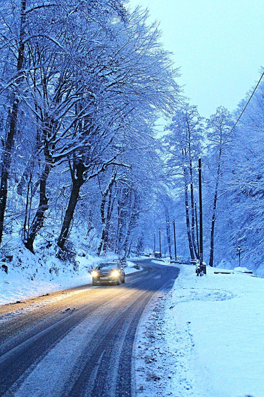 snow, winter, cold temperature, car, tree, road, transportation, nature, bare tree, no people, the way forward, land vehicle, outdoors, beauty in nature, day, branch, snowing, clear sky, sky