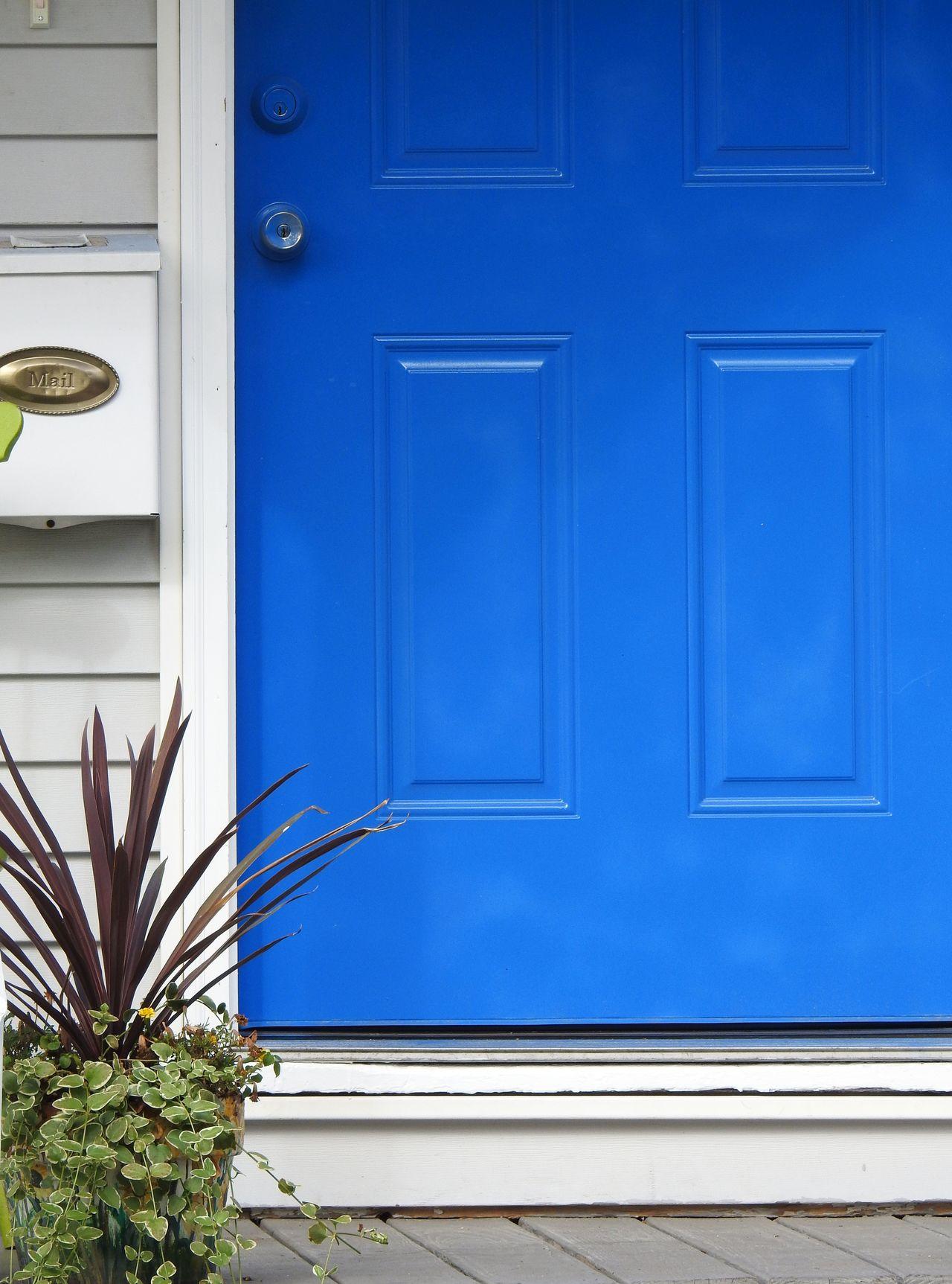 Architecture Blue Blue Door Built Structure Cerulean Cerulean Blue Close-up Closed Day Door Door Knob Doorporn Entrance Front Door House Door Mailbox My Front Door No People Outdoors Plant Porch Potted Plant Welcome Welcome Home Welcome To My Home