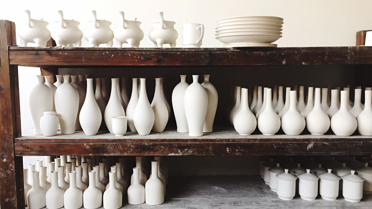Porcelain  Large Group Of Objects Ceramics Indoors  Pottery No People Arts Culture And Entertainment Working Shelf History Close-up Clay Workshop