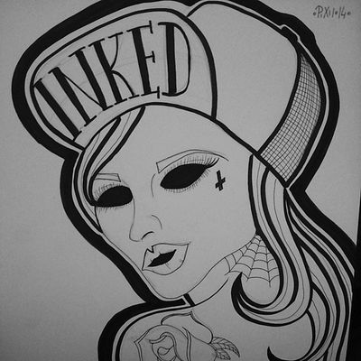 +SKATEGIRL+ Pixiiart Artist Artbypixii Drawingtime drawing zeichnen malen love skate skategirl tattooed