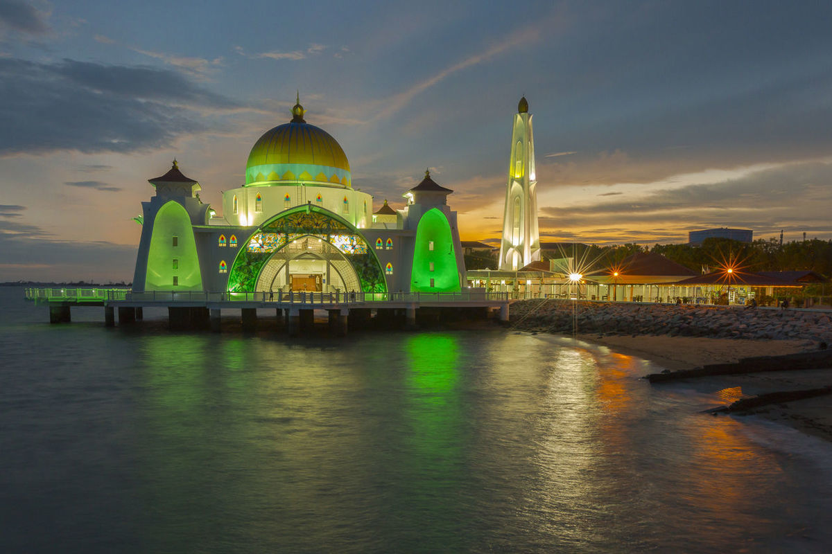 A floating masjid was built on the sea near the sea of Malacca. turn to be tourist attraction during sunset Architecture Building Exterior Built Structure Cloud - Sky Dome Gold Colored Illuminated Masjid Selat At Malacca Masjid Selat Melaka Malacca Tourism Mosque Mosque Architecture Night No People Outdoors Place Of Worship Religion Sky Spirituality Sunset Sunset #sun #clouds #skylovers #sky #nature #beautifulinnature #naturalbeauty #photography #landscape Travel Destinations Water Waterfront